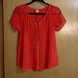 Old Navy Sheer Button-up Short-Sleeved Blouse